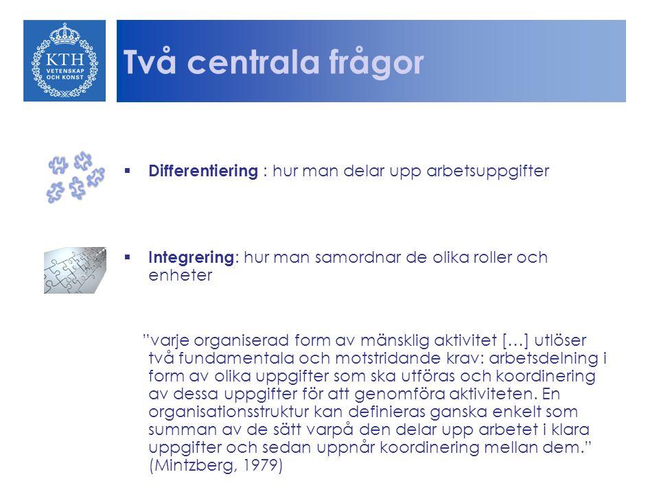 """Två centrala frågor  Differentiering : hur man delar upp arbetsuppgifter  Integrering : hur man samordnar de olika roller och enheter """"varje organis"""