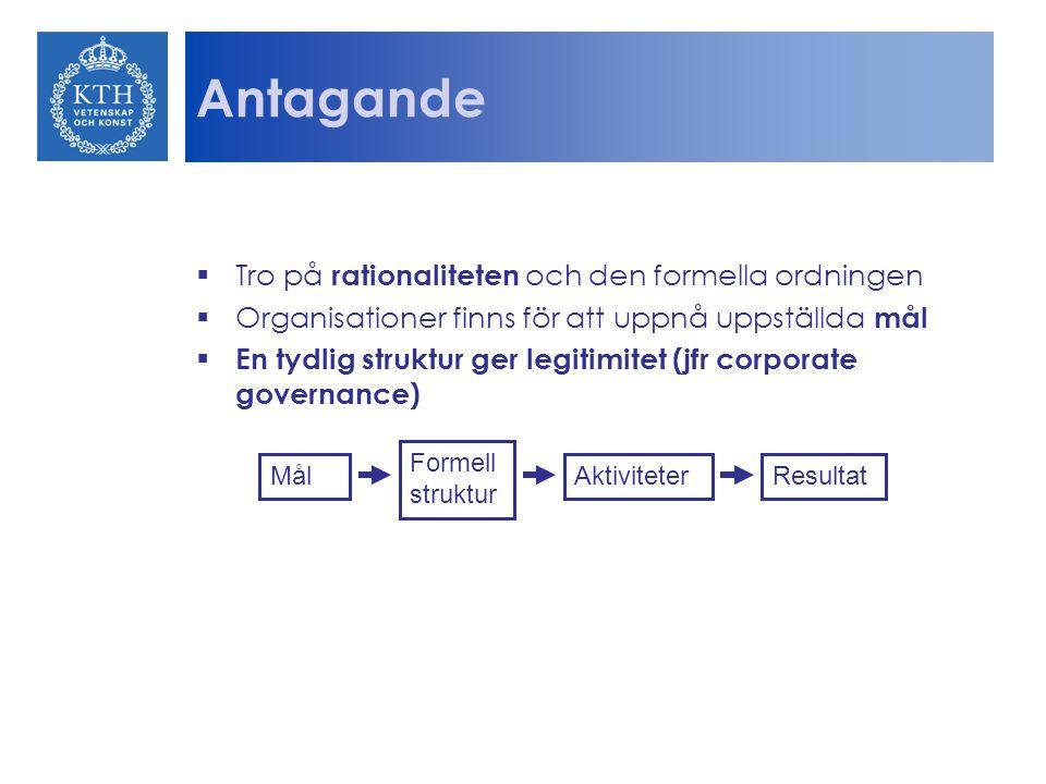 Antagande  Tro på rationaliteten och den formella ordningen  Organisationer finns för att uppnå uppställda mål  En tydlig struktur ger legitimitet