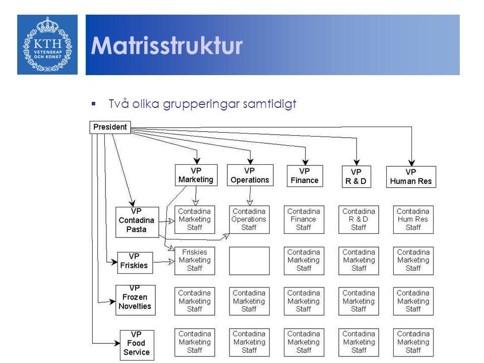Matrisstruktur  Två olika grupperingar samtidigt
