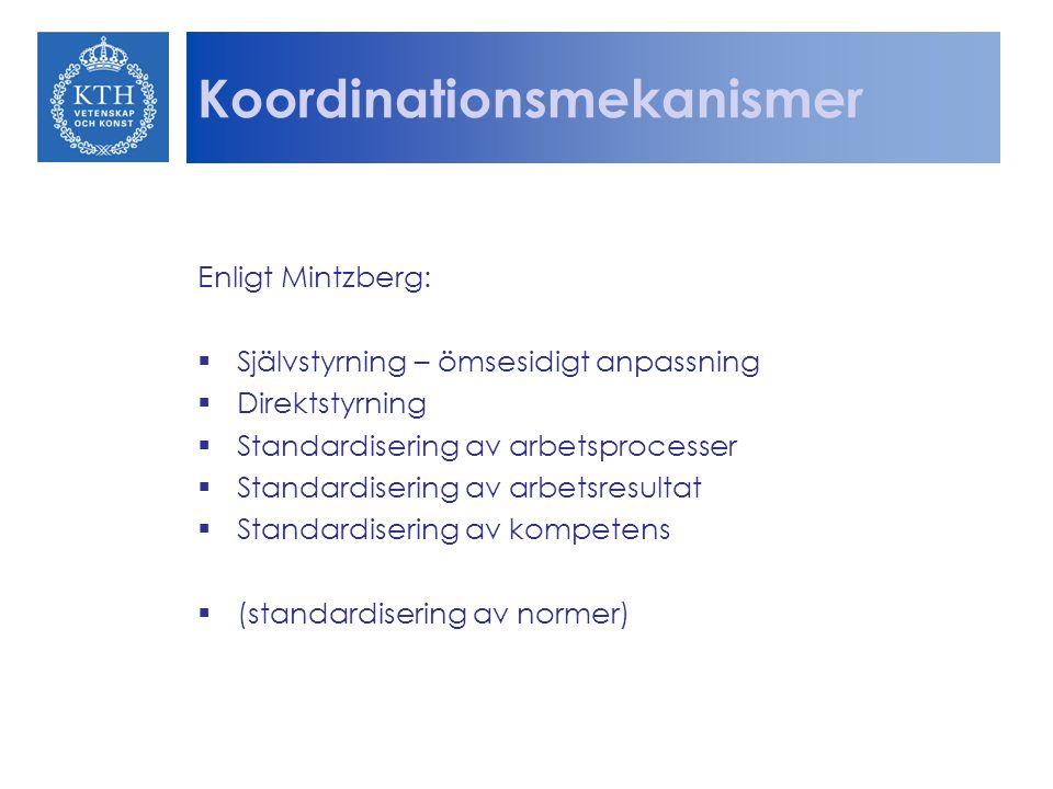 Koordinationsmekanismer Enligt Mintzberg:  Självstyrning – ömsesidigt anpassning  Direktstyrning  Standardisering av arbetsprocesser  Standardiser