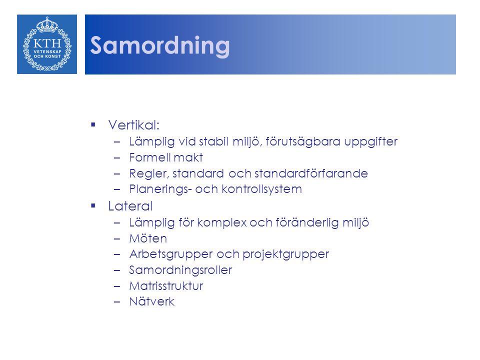 Samordning  Vertikal: –Lämplig vid stabil miljö, förutsägbara uppgifter –Formell makt –Regler, standard och standardförfarande –Planerings- och kontr