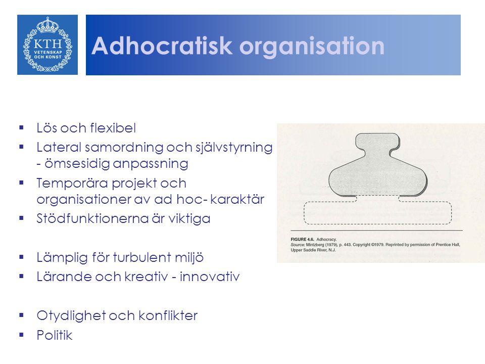 Adhocratisk organisation  Lös och flexibel  Lateral samordning och självstyrning - ömsesidig anpassning  Temporära projekt och organisationer av ad