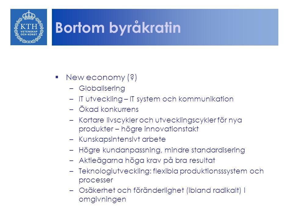 Bortom byråkratin  New economy (?) –Globalisering –IT utveckling – IT system och kommunikation –Ökad konkurrens –Kortare livscykler och utvecklingscy