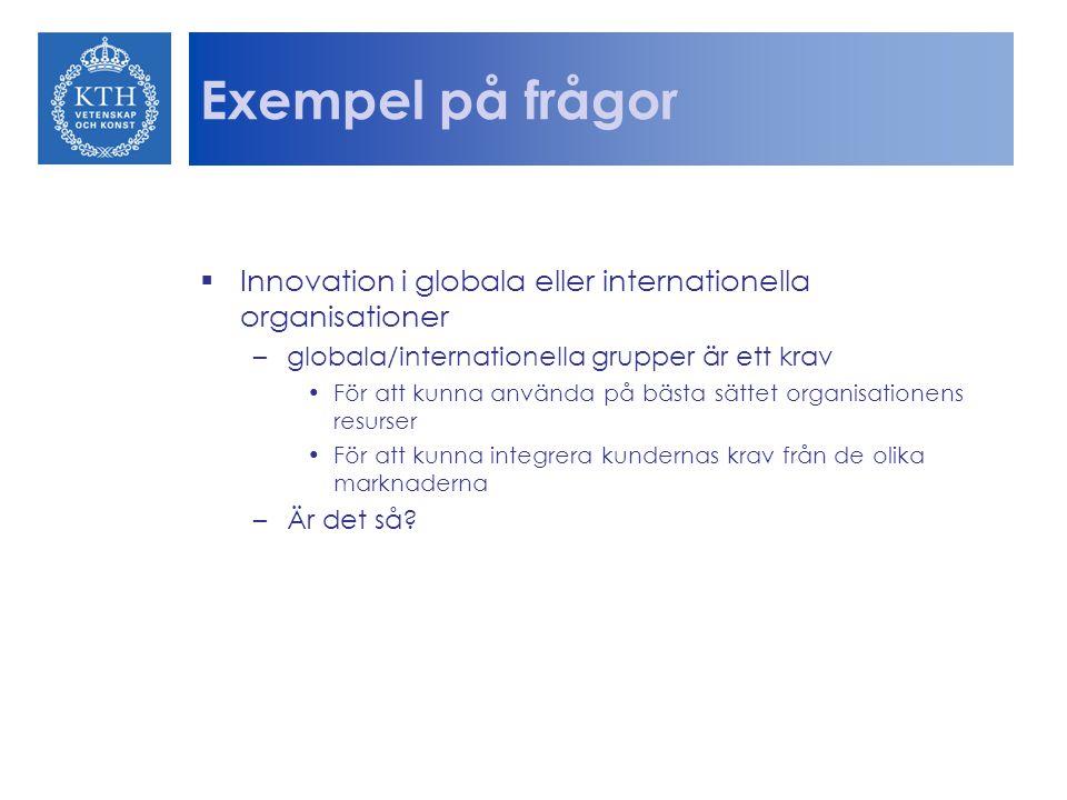 Exempel på frågor  Innovation i globala eller internationella organisationer –globala/internationella grupper är ett krav För att kunna använda på bä