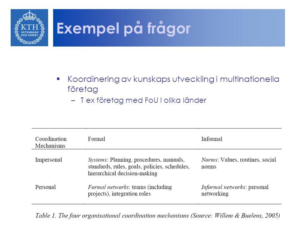 Exempel på frågor  Koordinering av kunskaps utveckling i multinationella företag –T ex företag med FoU i olika länder