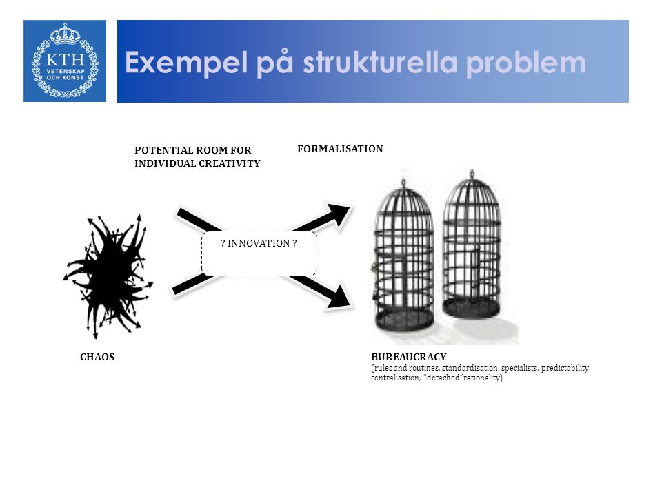 "Exempel på strukturella problem CHAOSBUREAUCRACY (rules and routines, standardisation, specialists, predictability, centralisation, ""detached""rational"