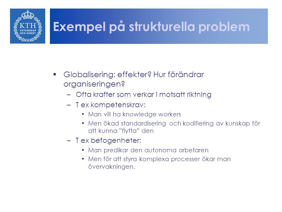 Exempel på strukturella problem  Globalisering: effekter? Hur förändrar organiseringen? –Ofta krafter som verkar i motsatt riktning –T ex kompetenskr