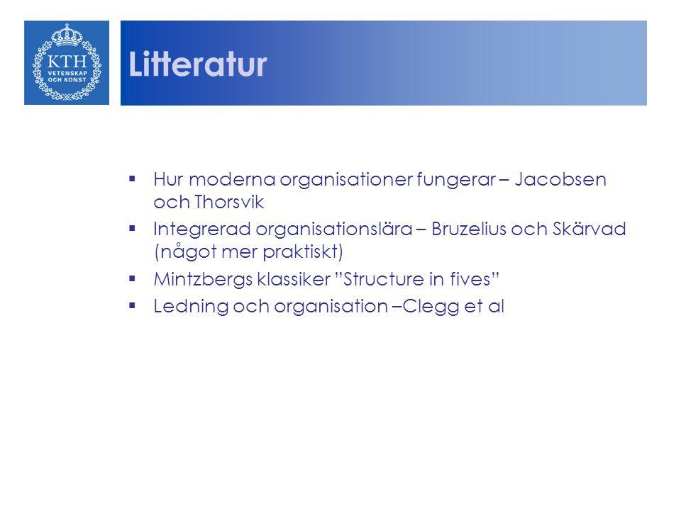 Litteratur  Hur moderna organisationer fungerar – Jacobsen och Thorsvik  Integrerad organisationslära – Bruzelius och Skärvad (något mer praktiskt)