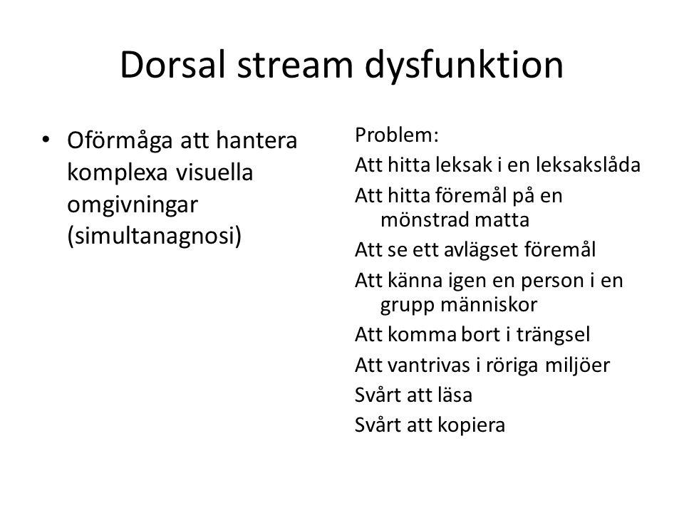 Dorsal stream dysfunktion Nedsatt förmåga att utföra visuellt styrda rörelser Problem: Svårt att med synens hjälp gripa med precision Svårt att bedöma djup, att se nivåskillnad och styra foten.