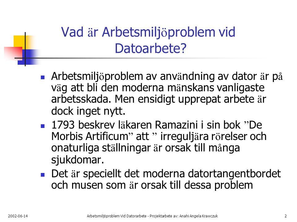 2002-06-14Arbetsmiljöproblem Vid Datorarbete - Projektarbete av: Anahi Angela Krawczuk3 Vad ä r Arbetsmilj ö problem vid Datoarbete.