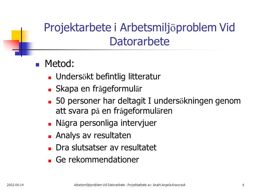 2002-06-14Arbetsmiljöproblem Vid Datorarbete - Projektarbete av: Anahi Angela Krawczuk7 Resultat av unders ö kningen i Arbetsmilj ö problem Vid Datoarbete Frekvens