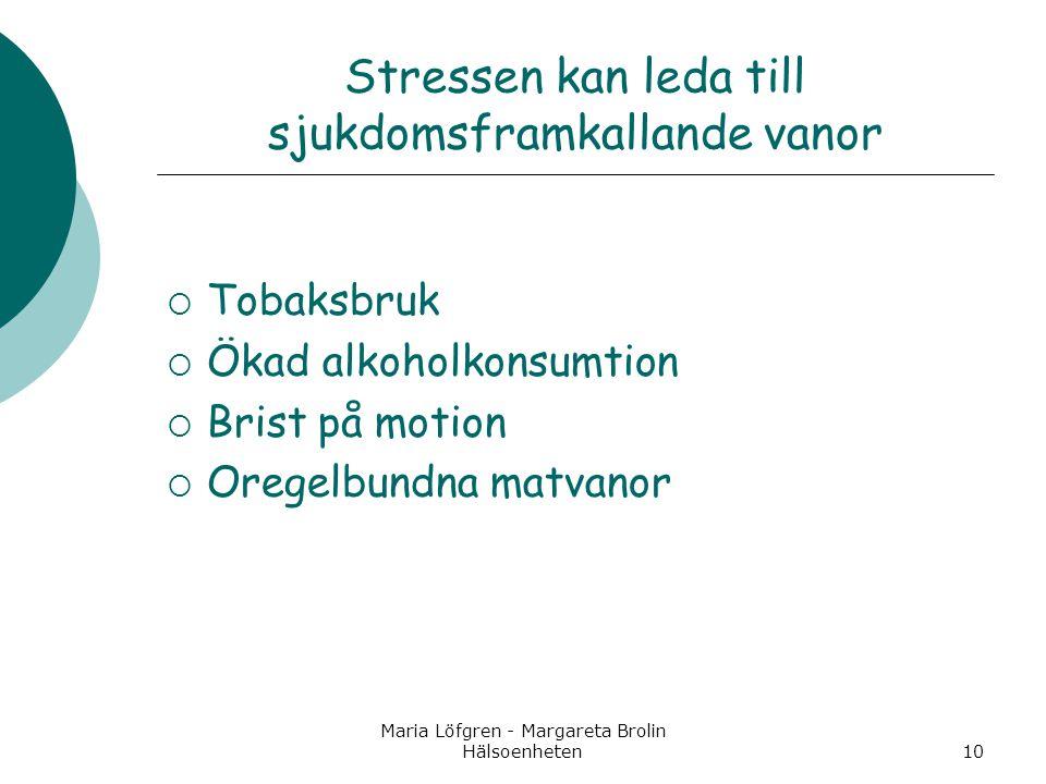 Maria Löfgren - Margareta Brolin Hälsoenheten10 Stressen kan leda till sjukdomsframkallande vanor  Tobaksbruk  Ökad alkoholkonsumtion  Brist på mot