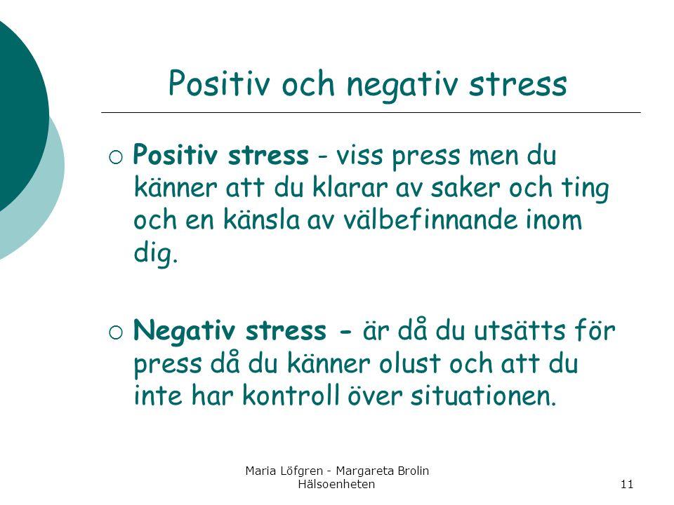 Maria Löfgren - Margareta Brolin Hälsoenheten11 Positiv och negativ stress  Positiv stress - viss press men du känner att du klarar av saker och ting