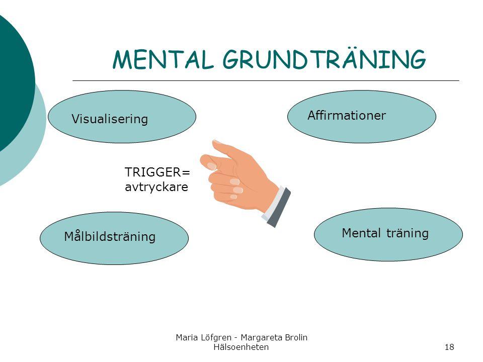 Maria Löfgren - Margareta Brolin Hälsoenheten18 MENTAL GRUNDTRÄNING Visualisering Affirmationer Målbildsträning Mental träning TRIGGER= avtryckare