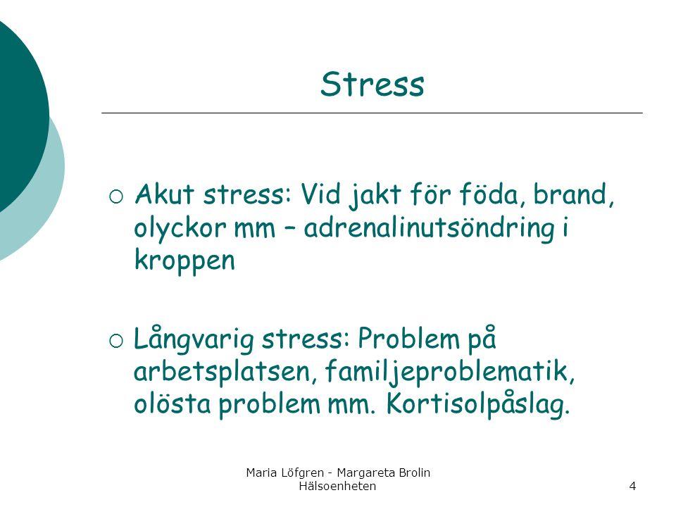 Maria Löfgren - Margareta Brolin Hälsoenheten4 Stress  Akut stress: Vid jakt för föda, brand, olyckor mm – adrenalinutsöndring i kroppen  Långvarig