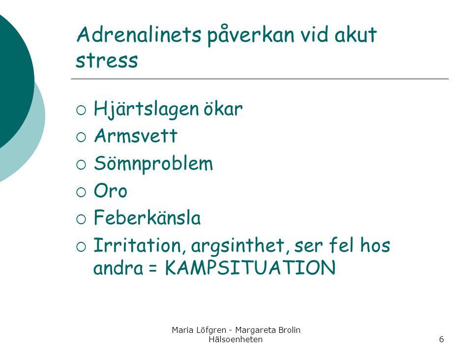 Maria Löfgren - Margareta Brolin Hälsoenheten6 Adrenalinets påverkan vid akut stress  Hjärtslagen ökar  Armsvett  Sömnproblem  Oro  Feberkänsla 