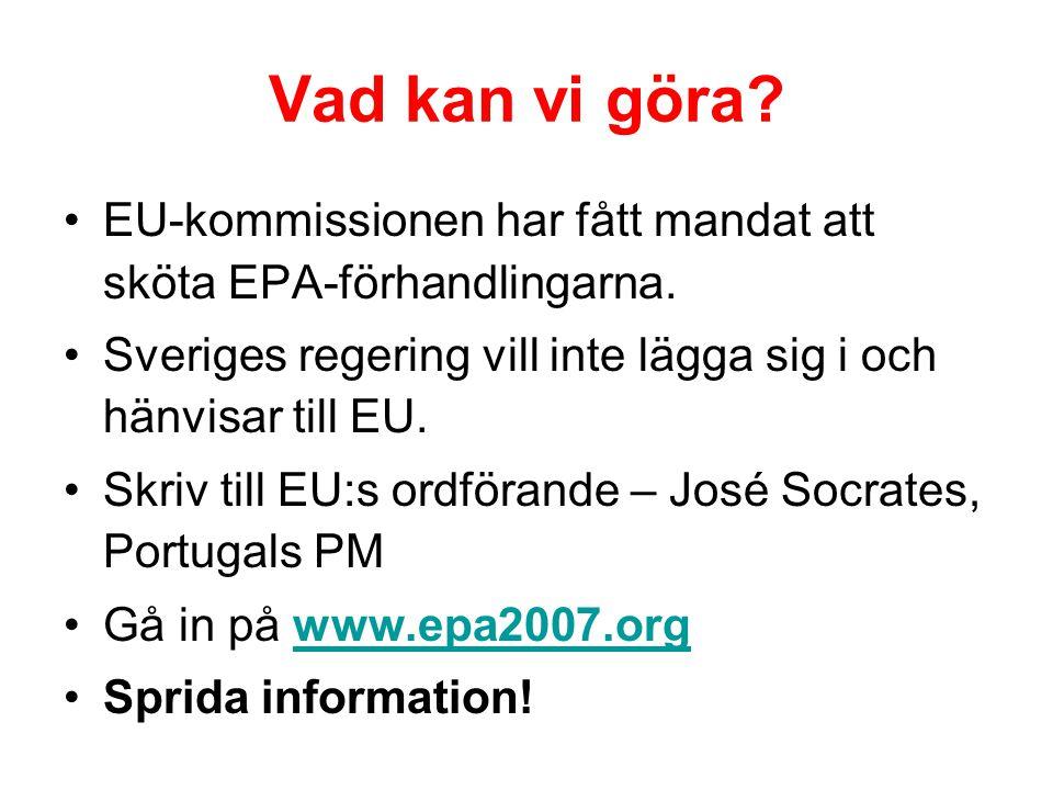 Vad kan vi göra? EU-kommissionen har fått mandat att sköta EPA-förhandlingarna. Sveriges regering vill inte lägga sig i och hänvisar till EU. Skriv ti
