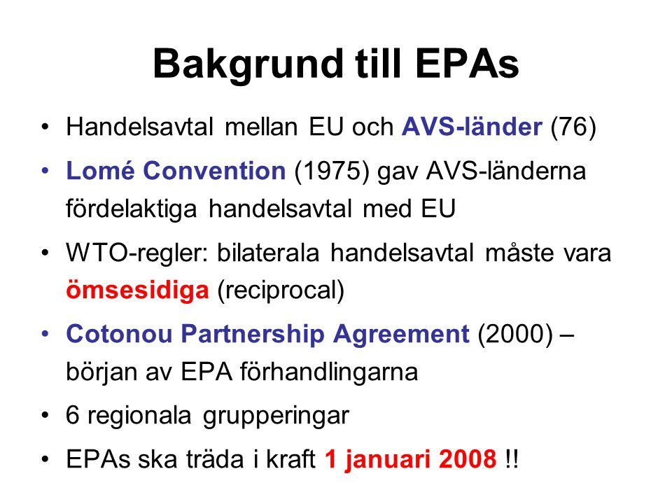 Bakgrund till EPAs Handelsavtal mellan EU och AVS-länder (76) Lomé Convention (1975) gav AVS-länderna fördelaktiga handelsavtal med EU WTO-regler: bil