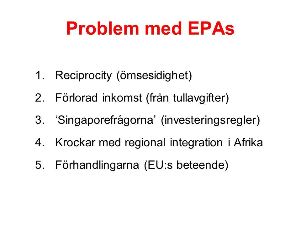Problem med EPAs 1.Reciprocity (ömsesidighet) 2.Förlorad inkomst (från tullavgifter) 3.'Singaporefrågorna' (investeringsregler) 4.Krockar med regional