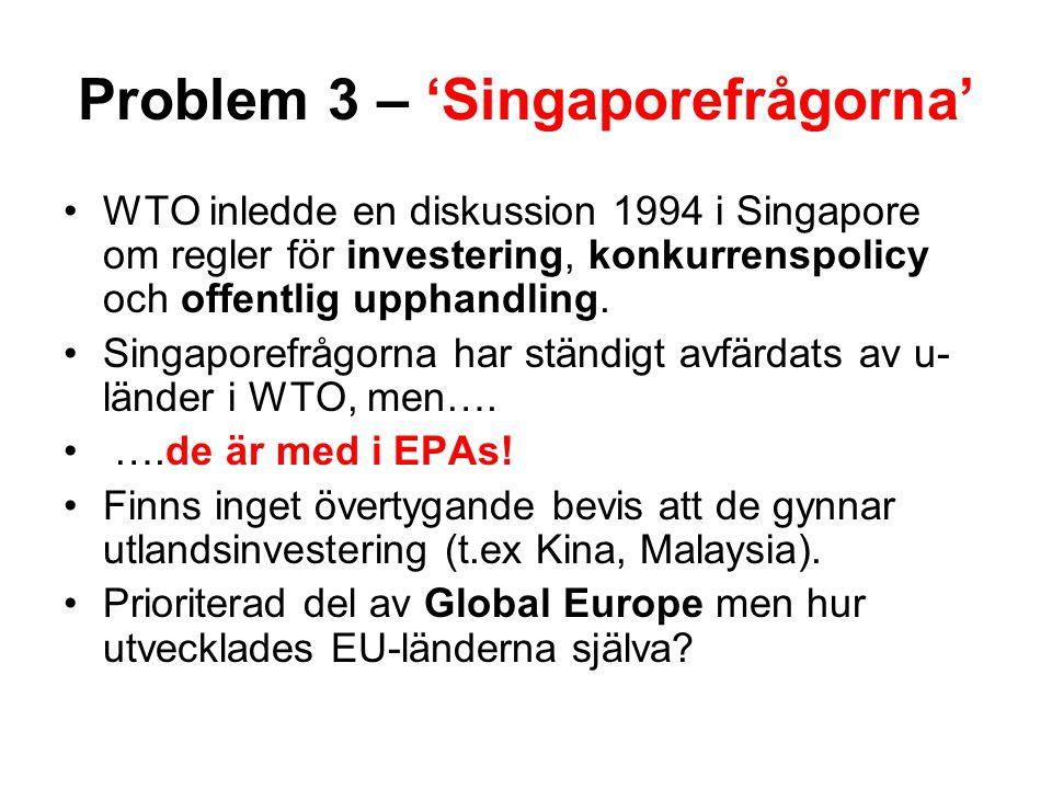 Problem 3 – 'Singaporefrågorna' WTO inledde en diskussion 1994 i Singapore om regler för investering, konkurrenspolicy och offentlig upphandling. Sing