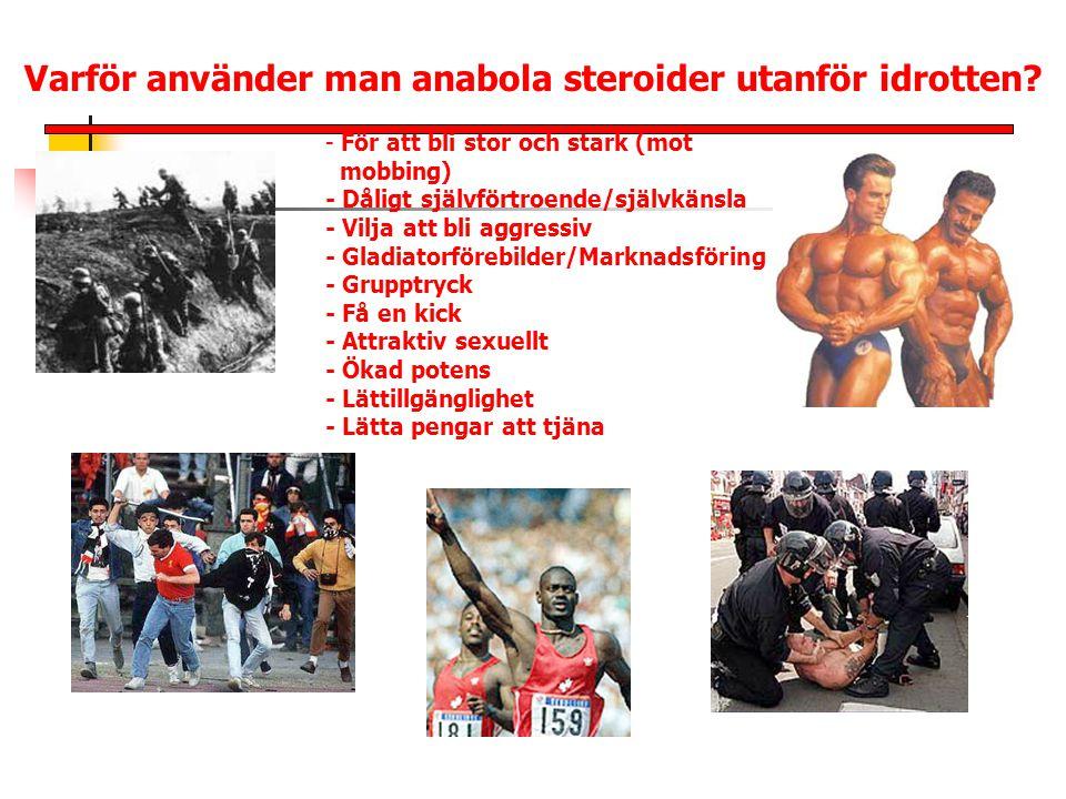 Varför använder man anabola steroider utanför idrotten? - För att bli stor och stark (mot mobbing) - Dåligt självförtroende/självkänsla - Vilja att bl