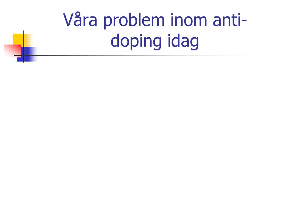 Våra problem inom anti- doping idag