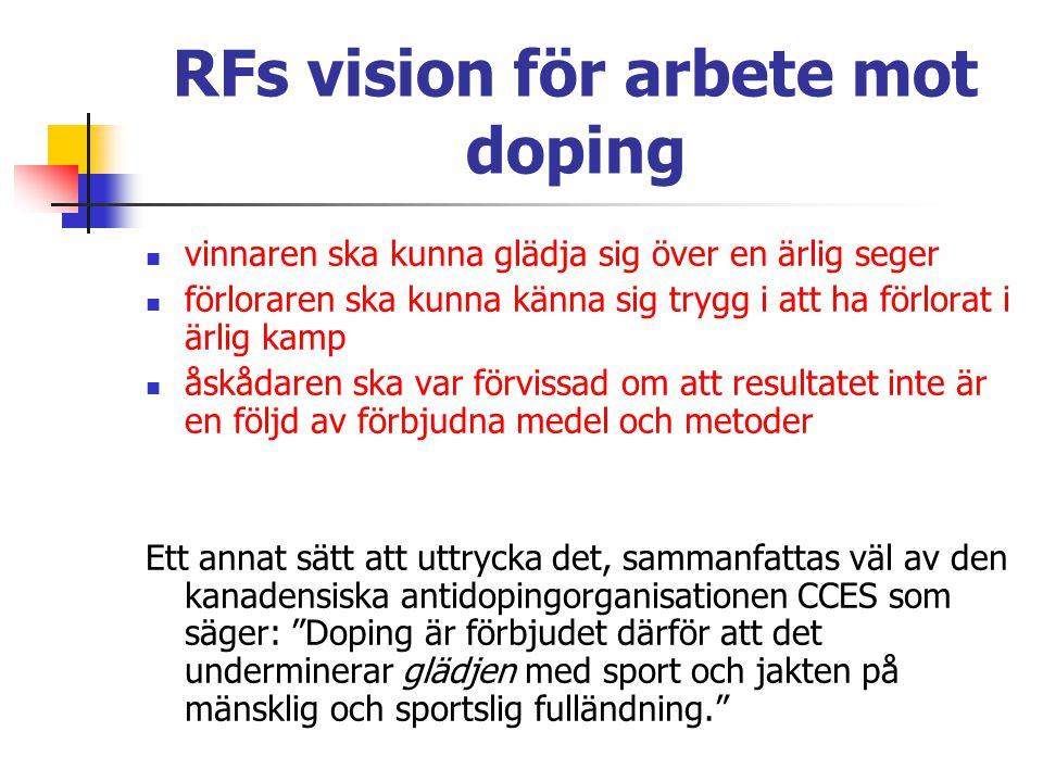 RFs vision för arbete mot doping vinnaren ska kunna glädja sig över en ärlig seger förloraren ska kunna känna sig trygg i att ha förlorat i ärlig kamp åskådaren ska var förvissad om att resultatet inte är en följd av förbjudna medel och metoder Ett annat sätt att uttrycka det, sammanfattas väl av den kanadensiska antidopingorganisationen CCES som säger: Doping är förbjudet därför att det underminerar glädjen med sport och jakten på mänsklig och sportslig fulländning.