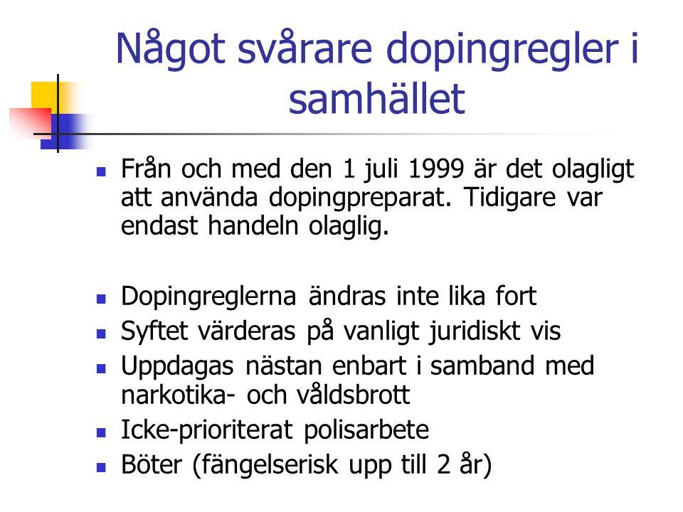 Något svårare dopingregler i samhället Från och med den 1 juli 1999 är det olagligt att använda dopingpreparat. Tidigare var endast handeln olaglig. D
