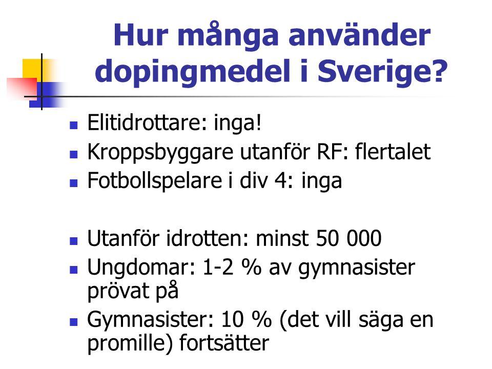 Hur många använder dopingmedel i Sverige? Elitidrottare: inga! Kroppsbyggare utanför RF: flertalet Fotbollspelare i div 4: inga Utanför idrotten: mins