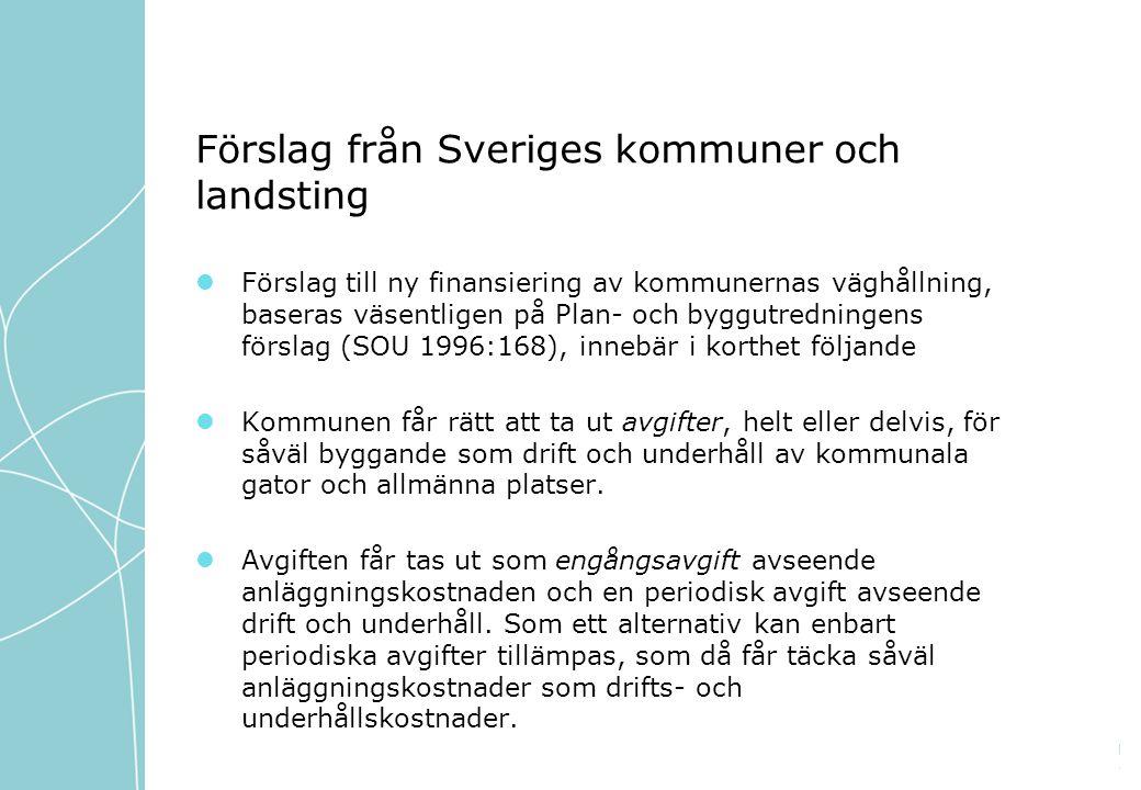 Förslag från Sveriges kommuner och landsting Förslag till ny finansiering av kommunernas väghållning, baseras väsentligen på Plan- och byggutredningens förslag (SOU 1996:168), innebär i korthet följande Kommunen får rätt att ta ut avgifter, helt eller delvis, för såväl byggande som drift och underhåll av kommunala gator och allmänna platser.