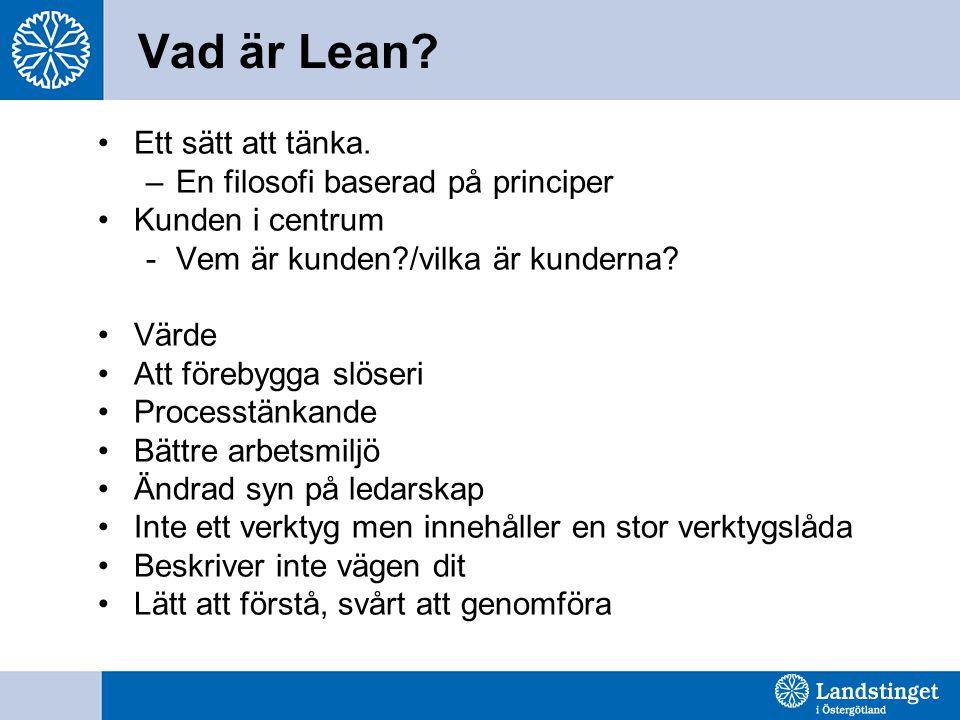 Vad är Lean? Ett sätt att tänka. –En filosofi baserad på principer Kunden i centrum -Vem är kunden?/vilka är kunderna? Värde Att förebygga slöseri Pro