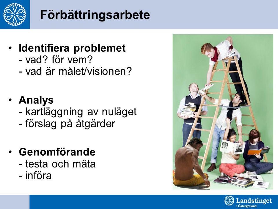 Förbättringsarbete Identifiera problemet - vad? för vem? - vad är målet/visionen? Analys - kartläggning av nuläget - förslag på åtgärder Genomförande