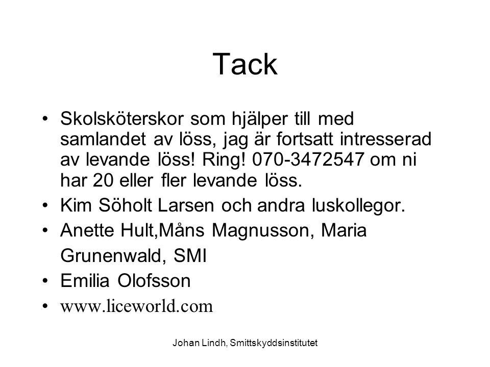 Johan Lindh, Smittskyddsinstitutet Tack Skolsköterskor som hjälper till med samlandet av löss, jag är fortsatt intresserad av levande löss! Ring! 070-