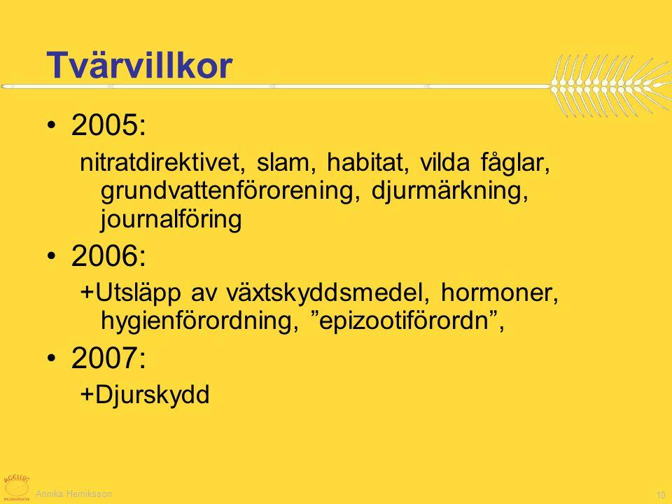 Annika Herniksson 10 Tvärvillkor 2005: nitratdirektivet, slam, habitat, vilda fåglar, grundvattenförorening, djurmärkning, journalföring 2006: +Utsläp