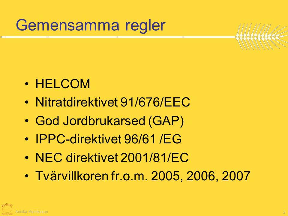 Annika Herniksson 2 Gemensamma regler HELCOM Nitratdirektivet 91/676/EEC God Jordbrukarsed (GAP) IPPC-direktivet 96/61 /EG NEC direktivet 2001/81/EC T