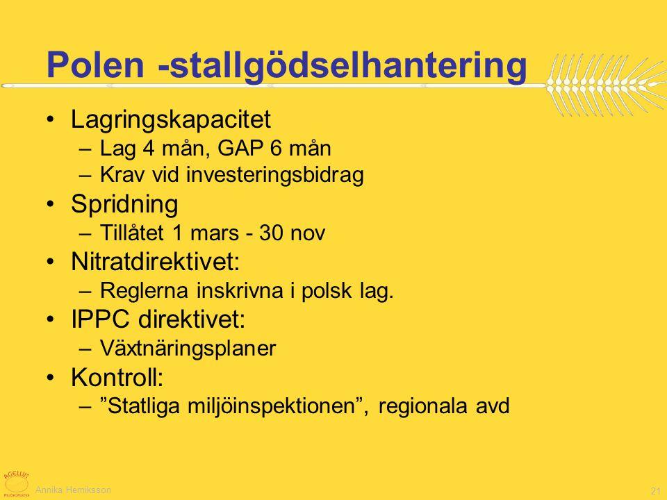 Annika Herniksson 21 Lagringskapacitet –Lag 4 mån, GAP 6 mån –Krav vid investeringsbidrag Spridning –Tillåtet 1 mars - 30 nov Nitratdirektivet: –Regle