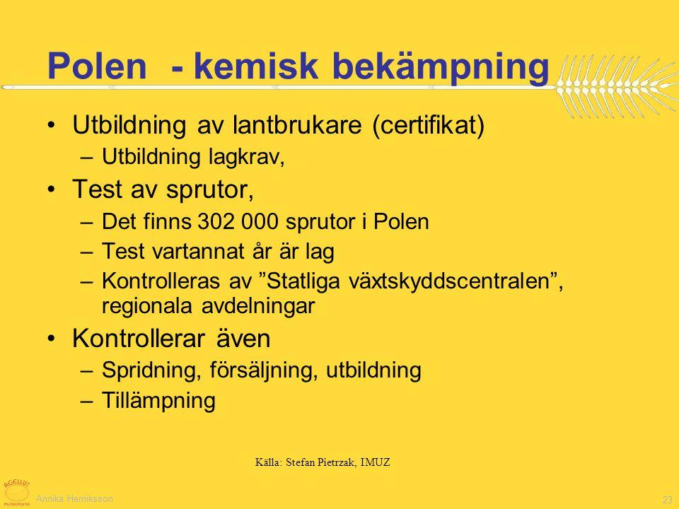 Annika Herniksson 23 Utbildning av lantbrukare (certifikat) –Utbildning lagkrav, Test av sprutor, –Det finns 302 000 sprutor i Polen –Test vartannat å