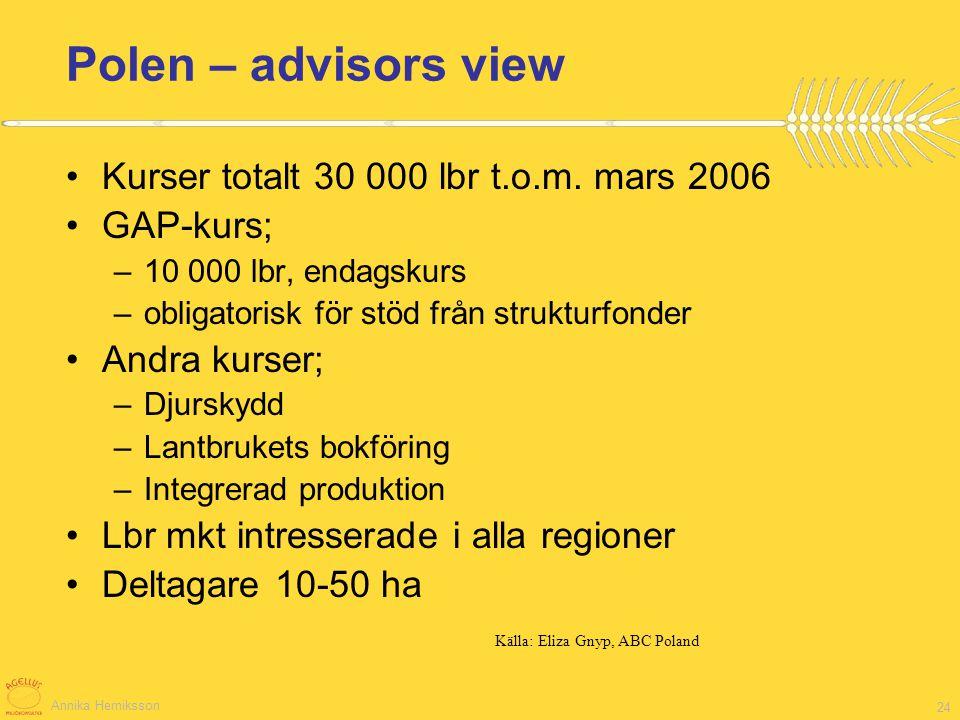 Annika Herniksson 24 Polen – advisors view Kurser totalt 30 000 lbr t.o.m. mars 2006 GAP-kurs; –10 000 lbr, endagskurs –obligatorisk för stöd från str