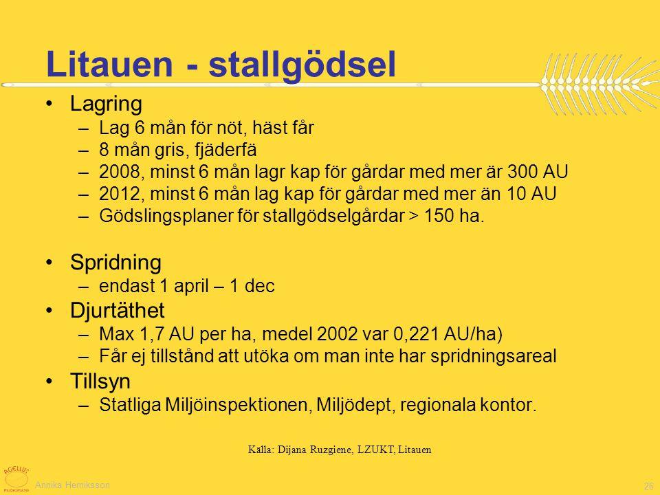 Annika Herniksson 26 Lagring –Lag 6 mån för nöt, häst får –8 mån gris, fjäderfä –2008, minst 6 mån lagr kap för gårdar med mer är 300 AU –2012, minst