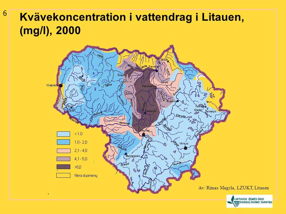 Kvävekoncentration i vattendrag i Litauen, (mg/l), 2000 6 Av: Rimas Magyla, LZUKT, Litauen