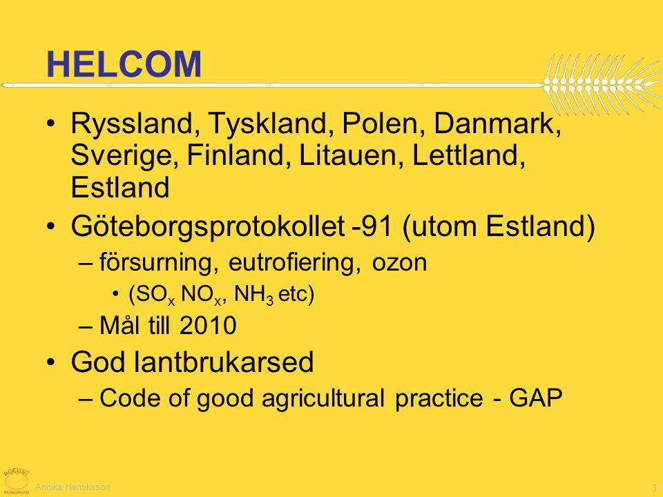 Annika Herniksson 14 Emissioner från olika källor i HELCOM-länderna* *OBS totalemission inom länderna, ej enbart till Östersjön Källa: HELCOM rapport Airborne nitrogen loads to the Baltic Sea.