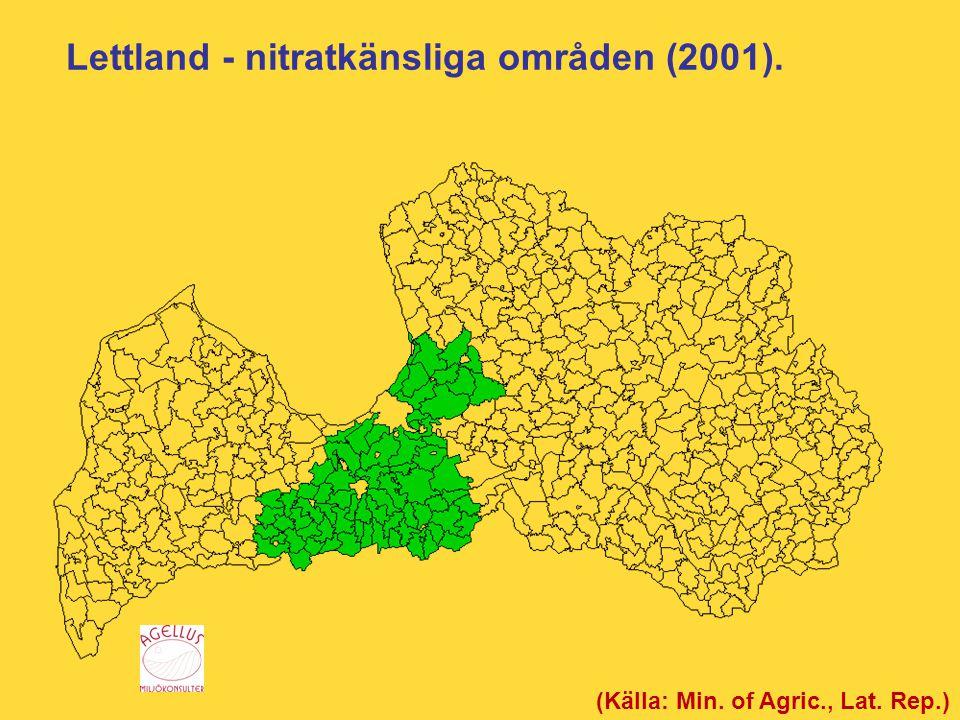 Lettland - nitratkänsliga områden (2001). (Källa: Min. of Agric., Lat. Rep.)