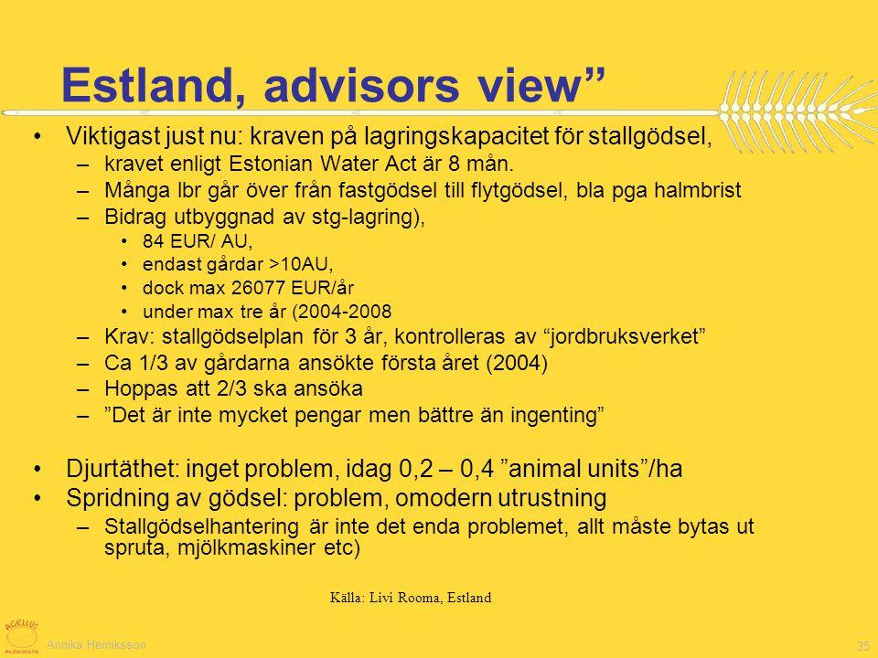 Annika Herniksson 35 Viktigast just nu: kraven på lagringskapacitet för stallgödsel, –kravet enligt Estonian Water Act är 8 mån. –Många lbr går över f
