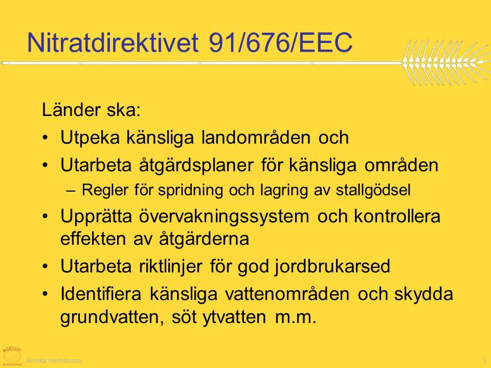 Annika Herniksson 5 Nitratdirektivet 91/676/EEC Länder ska: Utpeka känsliga landområden och Utarbeta åtgärdsplaner för känsliga områden –Regler för sp