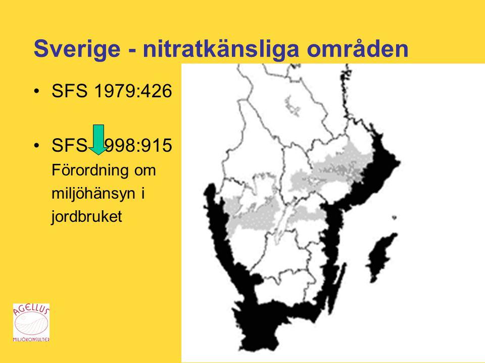 Sverige - nitratkänsliga områden SFS 1979:426 SFS 1998:915 Förordning om miljöhänsyn i jordbruket