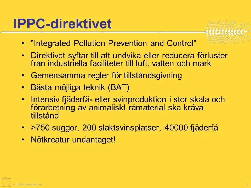 Annika Herniksson 9 NEC-direktivet National Emissions Ceilings (NECs) –försurning, eutrofiering, markbundet ozon SO x NO x, NH 3, VOCs –mål ska nås till 2010 För vissa länder (Tyskland, Lettland) strängare än Göteborgsprotokollet –Länderna bestämmer metoden –Uppdateras 2006 –Rapporteras 2008