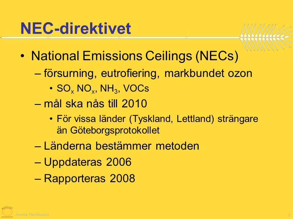 Annika Herniksson 10 Tvärvillkor 2005: nitratdirektivet, slam, habitat, vilda fåglar, grundvattenförorening, djurmärkning, journalföring 2006: +Utsläpp av växtskyddsmedel, hormoner, hygienförordning, epizootiförordn , 2007: +Djurskydd