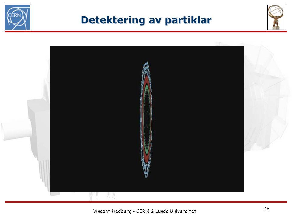 Vincent Hedberg - CERN & Lunds Universitet 16 Detektering av partiklar