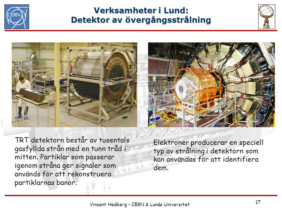 Vincent Hedberg - CERN & Lunds Universitet 17 Verksamheter i Lund: Detektor av övergångsstrålning TRT detektorn består av tusentals gasfyllda strån me