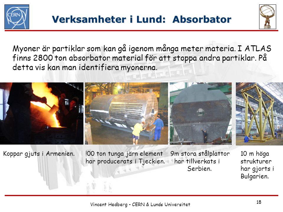 Vincent Hedberg - CERN & Lunds Universitet 18 Verksamheter i Lund: Absorbator Koppar gjuts i Armenien.!00 ton tunga järn element har producerats i Tje